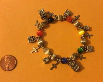 Love beads , charm boxes and crosses bracelet