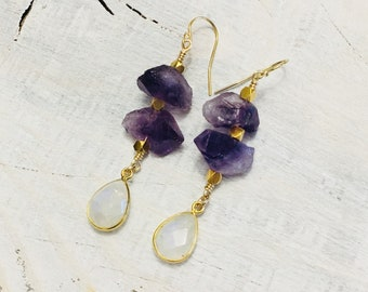 Amethyst Quartz and Moonstone Earrings- One of a Kind