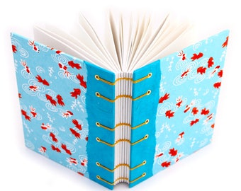 Goldfish Gift,  Gift for a Writer, Lay Flat Journal - Handmade by Ruth Bleakley - 160 Page Unlined Journal