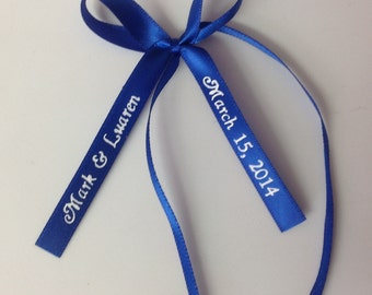 """50 Made Bows Personalized Ribbon 3/8"""" Satin Flat Edge Party Wedding Baby Shower Favor"""