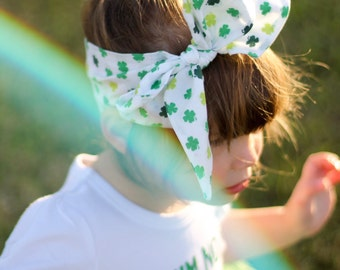 Clover Wrap - Saint Patrick's Day, Baby Headwrap, Big Bow, Turban Tie, Top Knot, Toddler, Hair Scarf, Womens, Newborn, Infant, Photo Props