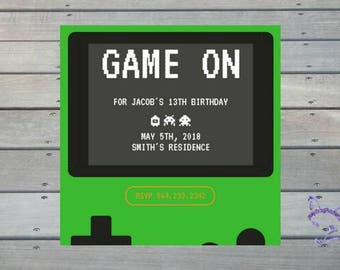 Gamer Gamboy Hand-held Console Nerdy Fun Cute Personalized Downloadable Print Yourself Birthday Invitation