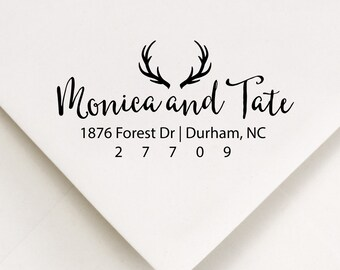 Antlers Address Stamp, Rustic Address, The Hunt Is Over, Woodland Ink Stamp, Stationery Stamper, Deer Antlers, Calligraphy Address (411)