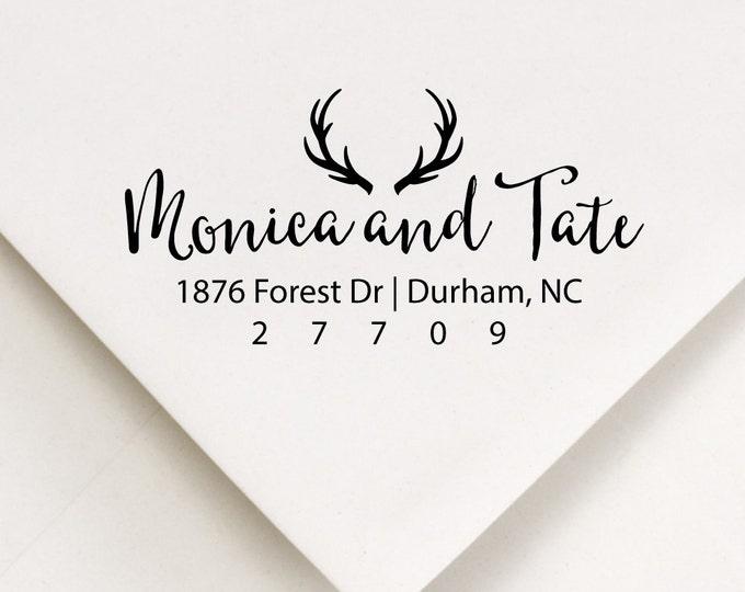 Featured listing image: Antlers Address Stamp, Rustic Address, The Hunt Is Over, Woodland Ink Stamp, Stationery Stamper, Deer Antlers, Calligraphy Address (411)