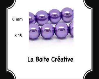 10 round purple LILAC purple 6 mm Pearl glass beads