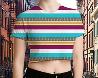 Women's Metallic Stripe Crop T-Shirt
