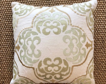 Linen Embroidered Decorative Pillow