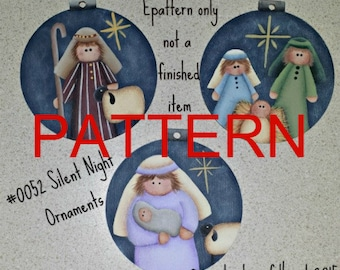 Painting epattern, Silent Night Ornaments pattern, nativity painting patterns, Christmas pattern,  tole painting, decorative painting