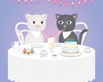 Lesbian Cat Birthday card (Also perfect for friends!)- Lesbian birthday card - lesbian birthday gift - lesbian girlfriend card