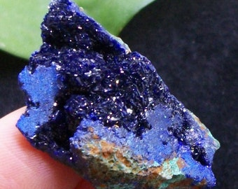 Sparkling 'Electric-blue' Gemmy Azurite with Green Malachite from Laos 2729