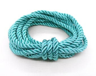 5mm Veraman Mint Satin Twisted Cord, Wrapped Thread Cord, Polyester Braided Cord, Rope Cord - 1 Yard/ 0.92m approx.(1 piece)