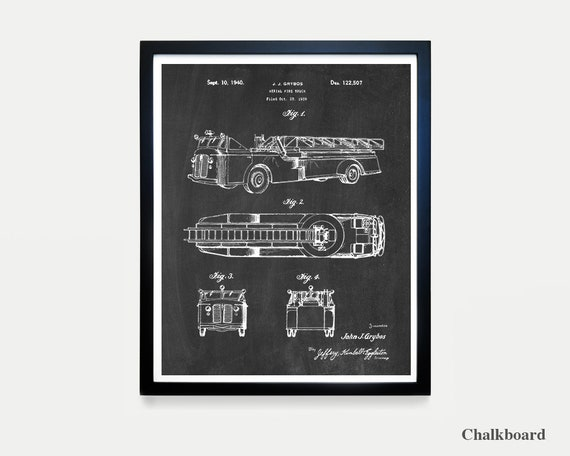 Fire Truck - Fire Truck Patent - Fire Truck Art - Fire Truck Poster - Boys Room Art - Boys Poster - Fire Truck Wall Art - Fireman - Ladder
