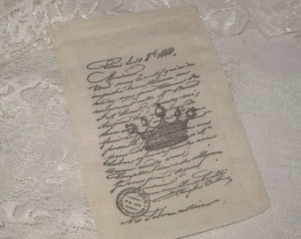Muslin Favor Pouches Vintage Inspired Paris Crown French Script Muslin Gift Pouches