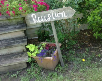 Modern Rustic Wood Wedding Ceremony Reception Sign on Stake Country Cursive Script Directional Arrow