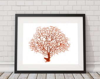 Watercolor Orange Sea Fan Print  8x10 or 11x14 Coastal Boho