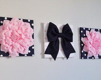 Pink and Navy Flower and Bow Pom Pom Art, Pink and Navy Nursery Decor, Baby Girl Picture, Playroom Decor, Nursery Decor, Baby Shower Garland