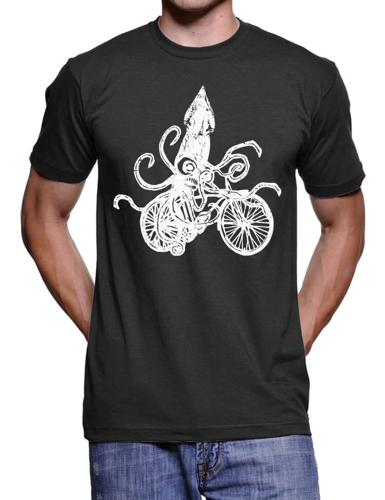 Mens Squid on a Bike T Shirt Funny Squid Tshirt Bicycle tees Bike Gifts Tshirts Men and Women Tshirts Tentacles Tshirt S-2X