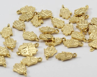 20 Pcs 24k Gold Plated Hamsa Charms, 9x13mm, Hamsa Pendant, Tiny Hamsa, Gold Plated Pendants, KBR64