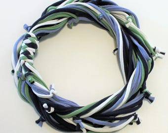 T Shirt Scarf - Infinity Circle Scarves Recycled Cotton - Navy Blue Light Denim Avocado Green Periwinkle White Spring Summer Nautical