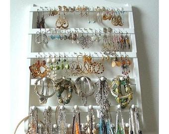 ON SALE Jewelry Organizer Earring Holder, Lovely White Stained Bracelet Display, Solid Oak Hardwood, Slight Grain, Necklace Rack, Combo Styl