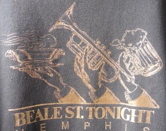 BEALE St Tonight Memphis Tennessee Gold Graphic Sweatshirt 80s Jerzees Garment Tag Home of the Blues America's Most Iconic Street TN Tourism