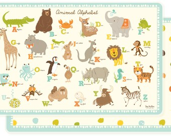 PLACEMAT for kids - animal alphabet placemat