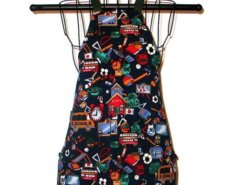 Child's Apron School Theme Fits Ages 3 to 8