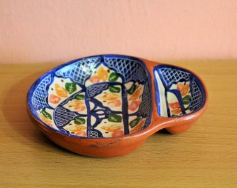 Vintage Portugal Pottery Divided Bowl Signed Portuguese Ceramic Dish Blue Leaf