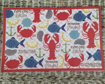 Cape Cod Placemats Seafood Lobster disposable paper place mats clambakes beach wedding rehearsal dinner 24 piece