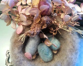 Wool Needle Felted Nest Robin Eggs Turquoise Easter Spring Nursery Decor Baby Bird