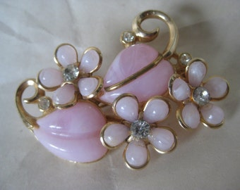 Flower Pink Brooch Gold Rhinestone Clear Vintage Plastic Pin