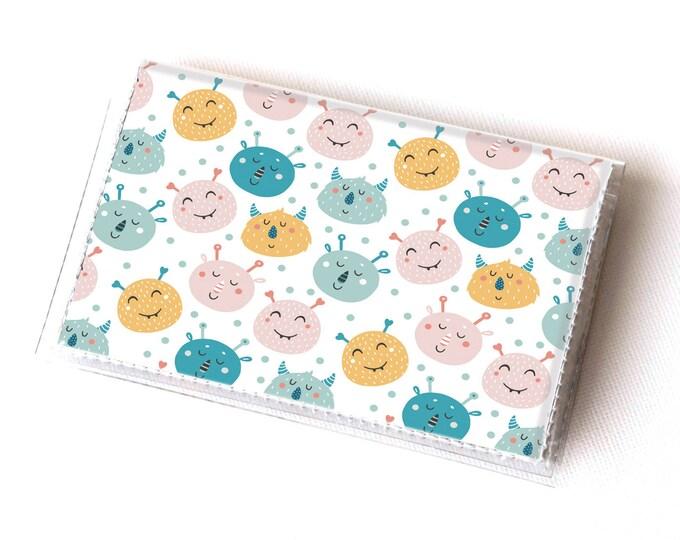 Handmade Vinyl Card Holder - Monster Mash  / card case, vinyl wallet, women's wallet, small wallet, cute, kids, children, colorful