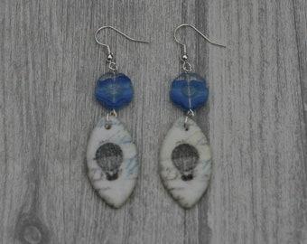 Blue Hot Air Balloon Statement Earrings,