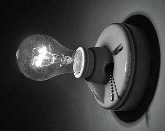 Black and White Photography, Light Bulb Print, Lightbulb Photography, Light, Fine Art Photography ,