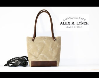 Waxed canvas everyday tote No. SR200 - heavy weight canvas bag and genuine Oiled leather