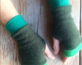 Fingerless Gloves in greens in cashmere, wrist warmers, typing gloves