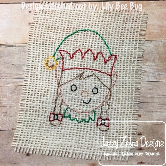 Elf Girl Color Work Embroidery Design - Elf Girl red Work Embroidery Design - elf Embroidery Design - girl Embroidery Design - Christmas