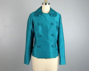 Vintage 1960s Teal Double Breasted Jacket 60s Silk Wool Blend Long Sleeve Crop Jacket Size M