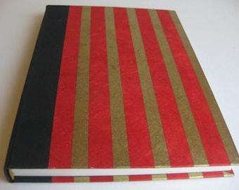 Guest Book Diary Vintage Handbound Journal  Red Gold