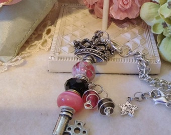 Hot Pink and Black European Beaded Crown Shaped Key Pendant, Dione/Murano large hole beads, charms, Silver tarnish resistant chain necklace.