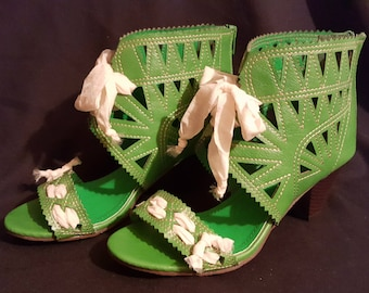 "OOAK green bootie open cutwork sandals embellished handcrafted cream organza ribbon altered ankle boot 2.5"" stack heel sz. 9M usa"