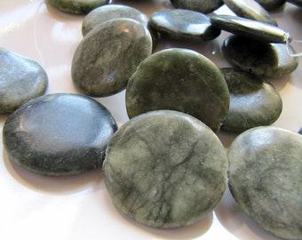 35mm Jungle JASPER Beads in Moss and Sage Green Shades, Flat Round, Coin, Large Focal Beads, 3 Pieces