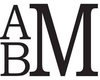 Stacked Block Font Car Monogram Decal Sticker