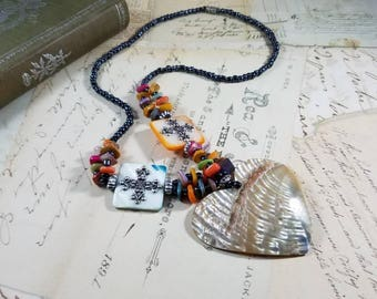 My Heart is at the Beach  Beaded Boho Pendant Necklace