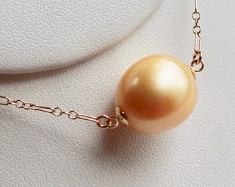 Golden pearl floating necklace with  HUGE 15x14mm ocean SOUTH SEA pearl with gold vintage chain