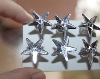Mirror Style Star Push Pins/ Thumb Tacks Set of 6