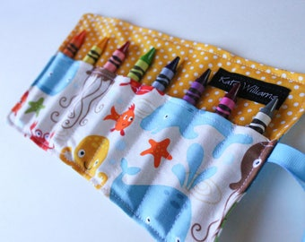 Sea Animals Crayon Holder-Crayon Roll-Gender Neutral Kid Stocking Stuffer-Kid Christmas Gift-Kid Travel Accessory-Kid Craft Item-Kid Gift