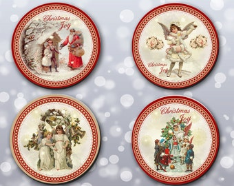 Coaster, Christmas, Vintage, Xmas Coasters, Coasters, Gifts, Stocking stuffers, Christmas, Holiday Coasters, Santa (0061)