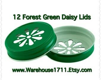 Mason Jar Lids ~ 12 ~ Daisy Lids ~ (Forest Green)/Party Jar Lids/Wedding Jar Lids/Anniversary Jar Lids