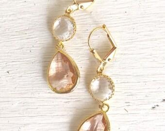 Earrings Champagne Bridesmaid Earrings.  Bridesmaid Earrings. Dangle Bridal Drop Earrings. Gold Fashion Earrings. Wedding Jewelry. Gift.